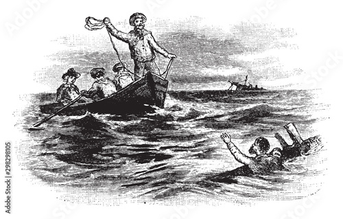 Shipwrecked Sailor, vintage illustration. Canvas Print