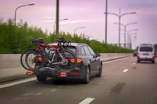 Car Transports Bicycles On A R...