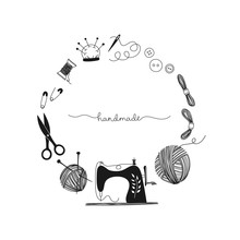 Frame Hand Drawn Needlework Concept, Sewing Machine, Vintage, Seamstress, Handmade. Black-white Illustration.