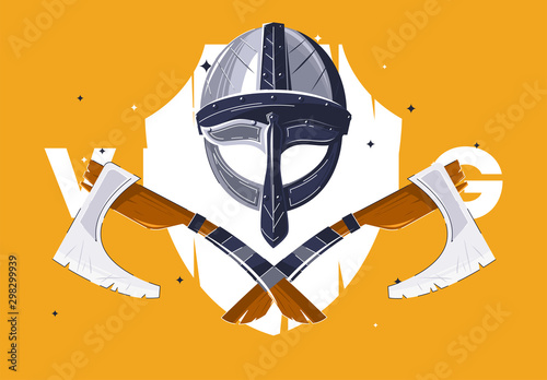 Vector illustration of Viking helmet and axes Wallpaper Mural
