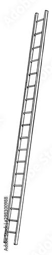 Valokuva Leaning Ladder vintage illustration.