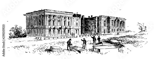 Photo Remains of the Capitol After the Fire of 1814 vintage illustration