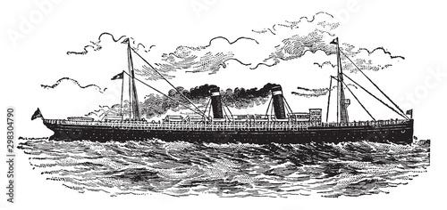 Canvas Print Modern Ocean Steamship, vintage illustration.