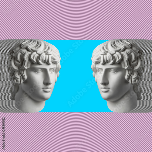 Fototapety, obrazy: Contemporary art concept collage with antique statue head in a surreal style. Modern unusual art.