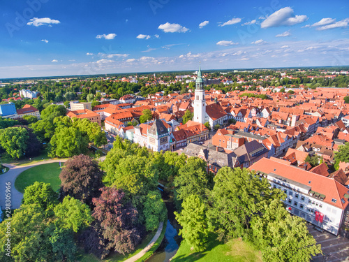 Celle aerial view from drone, Germany. Homes and city park Fototapet