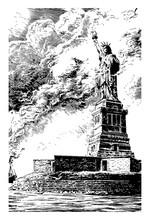 Statue Of Liberty Vintage Illu...