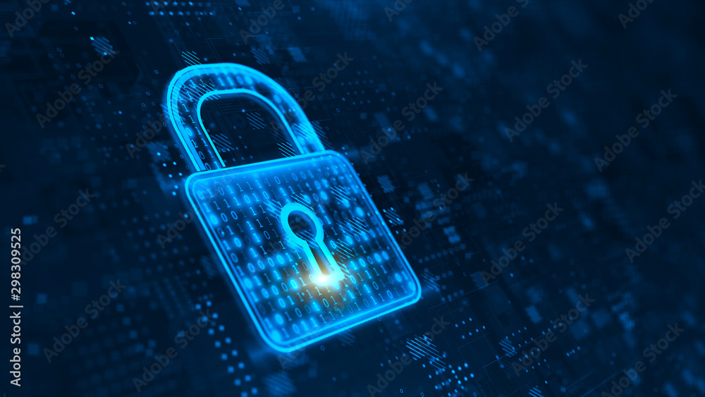 Fototapeta Cyber Security and safety information, personal data concept. Digital Padlock. 3d rendering