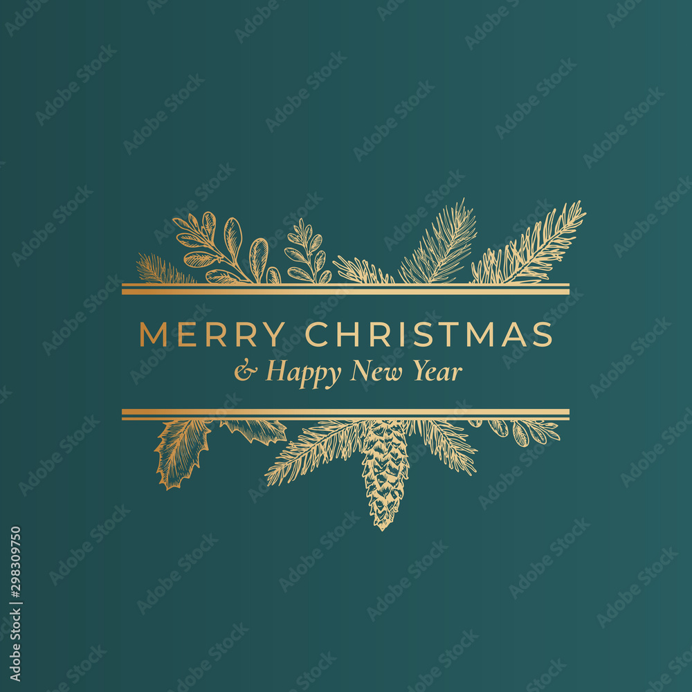 Fototapety, obrazy: Christmas Abstract Botanical Label with Rectangle Frame Banner and Modern Typography. Classy Green and Golden Colors Greeting Layout. Holiday Social Media Post Template.