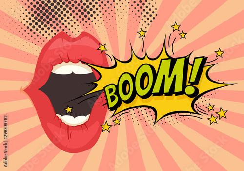 Speech Bubble with Woman lips in Pop-Art Style. Boom sound text. Fototapeta