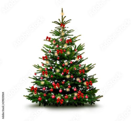 Fotografía  Glänzend Dekorierter Weihnachtsbaum mit Weihnachtskugeln