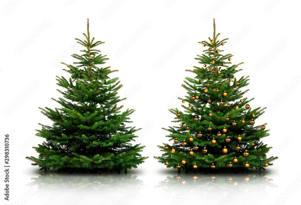 Fototapety, obrazy: Glänzend Dekorierter Weihnachtsbaum mit Weihnachtskugeln