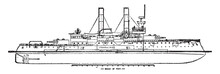 USS Iowa, Vintage Illustration.