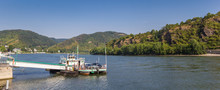 Panorama Of The Car Ferry On The Rhine River In Boppard, Germany