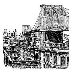 Fototapeta Nowy York Brooklyn Bridge vintage illustration