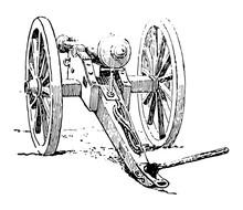 Civil War Canon, Vintage Illustration.