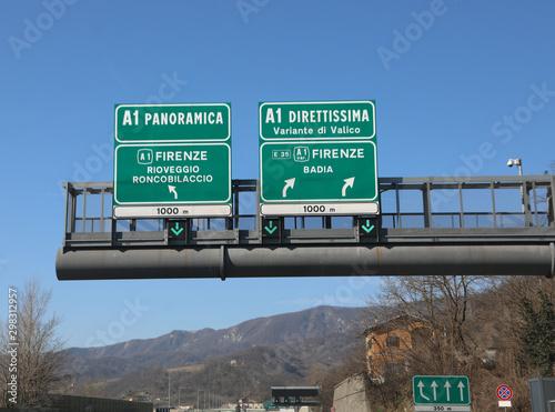 Fototapeta traffic sign on italian highway obraz