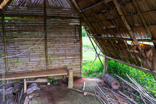 Tablou Canvas in side the hut on rice field
