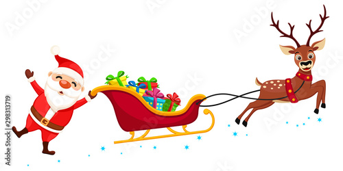 Santa Claus holding one hand on the sleigh with gifts and waving. Christmas characters - 298313719