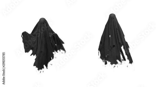 3d render Flying black Ghost on a white background Wallpaper Mural