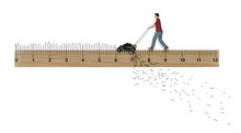 A Man Cuts His Grass To Just The Right Height In This Illustration About Lawn Care And Turf Managment.