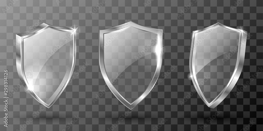 Fototapeta Glass shield realistic vector illustration. Blank transparent white acrylic glass panel with reflection and glow, award trophy or certificate template, front side view isolated on checkered background