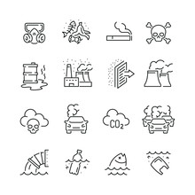 Pollution Related Icons: Thin ...