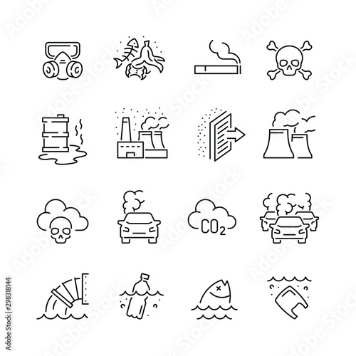 Pinturas sobre lienzo  Pollution related icons: thin vector icon set, black and white kit