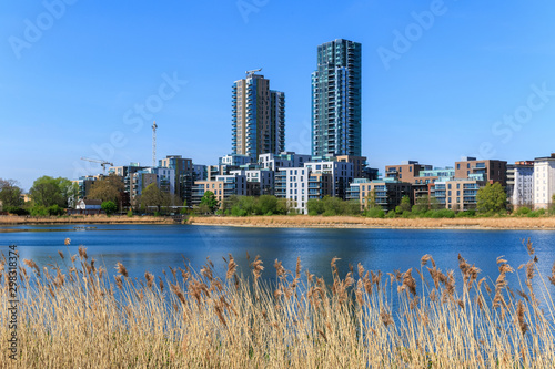 Valokuva Woodberry Wetland in London with new development in the background