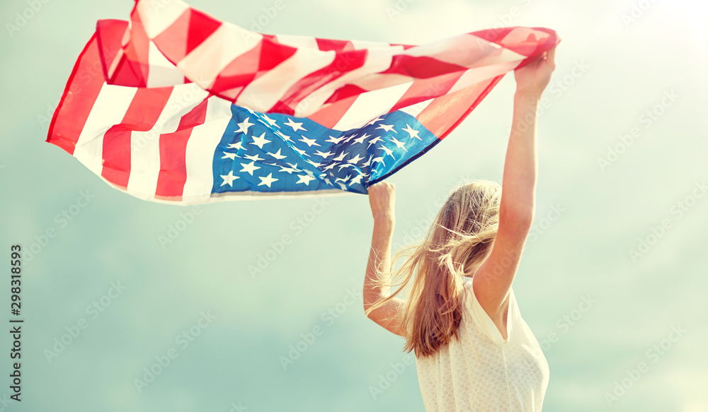 Fototapety, obrazy: country, patriotism, independence day and people concept - happy smiling young woman in white dress with national american flag outdoors