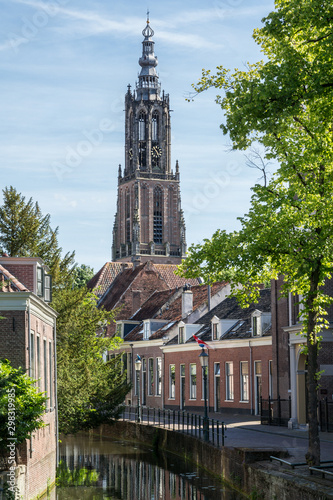 Photo Canal and Long John church tower in Amersfoort, Netherlands