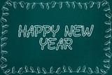 Fototapeta Sport - New Year Chalkboard Sketch Background