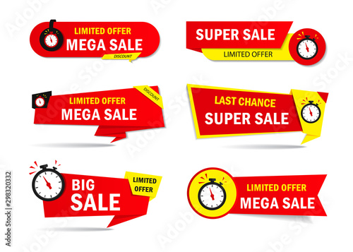 Pinturas sobre lienzo  Limited offer sale tags with clock, time