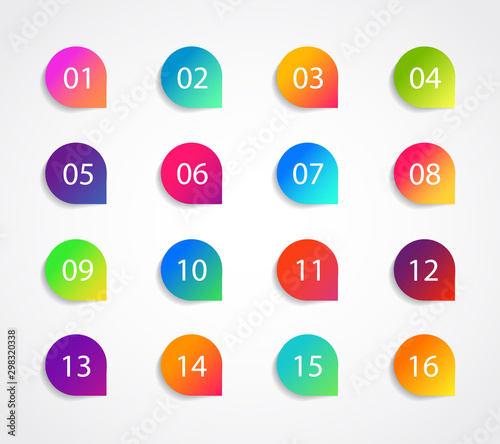 Valokuva Bullet marker icon with number 1, 3, 4, 5, 7, 9, 10, 12 for infographic, presentation