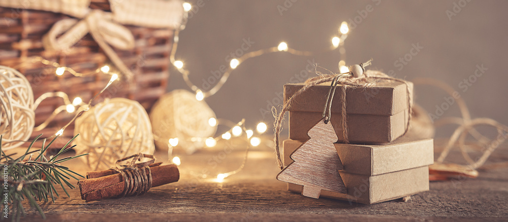 Fototapety, obrazy: Christmas and zero waste, eco friendly packaging gifts in kraft paper on a wooden table, eco christmas holiday concept, eco decor banner