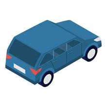Blue Car Icon. Isometric Of Blue Car Vector Icon For Web Design Isolated On White Background