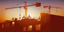 Concept Du Chantier Et Des Métiers Du Bâtiment Avec La Construction Des Murs En Béton D'un Bâtiment à L'aide De Grues.