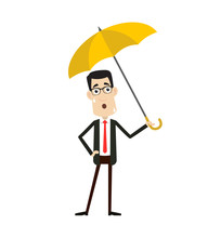 Corporate Business Character - Standing With Umbrella