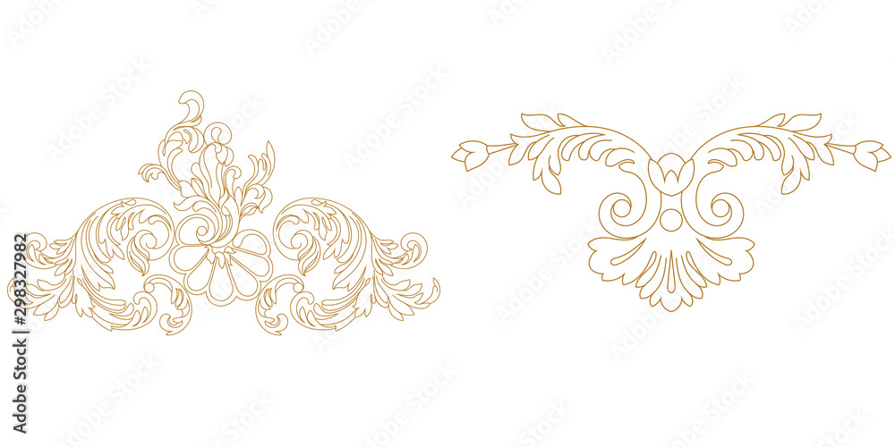 Fototapety, obrazy: Set of golden vintage baroque ornament, corner. Retro pattern antique style acanthus.