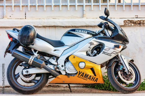Beauty profile of Yamaha YZF600R Deltabox Thunder motorcycle parked on the street,Rome,Italy - July 26, 2018