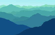 Vector Illustration Blue Mount...