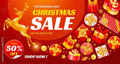 Foto auf AluDibond Logo Festive Christmas And New Year Sale Banner
