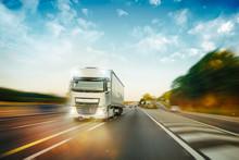 Truck In Motion On Motorway