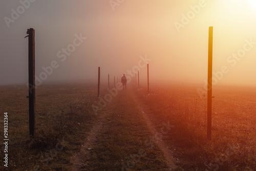 Foto auf Gartenposter Schokobraun Silhouette young man walk on path with wooden stick in misty fog at sunrise, Czech landscape