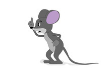 Rat On A White Background Postcard With A Fun Cute Mouse New Year Vector