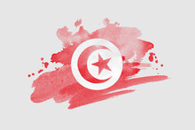 National Flag Of Tunisia. Styl...