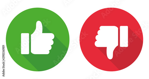 Stampa su Tela  Thumb up and thumb down sign. Vector illustration
