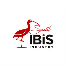 Scarlet Ibis Logo Modern Vector Silhouette For Icon Or Animal Template Inspiration