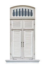 Realistic Classic Style Wooden Window Frame Isolated On White Background, Old Vintage Pane Of Royal Palace Terrace Architecture