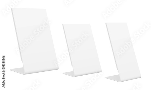 Valokuvatapetti Slanted sign holder isolated on white background