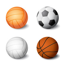 Realistic Sports Balls Set Ico...